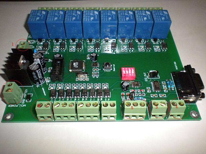 鼎创恒达 8路传感器输入8路继电器输出控制板 (DC-8I8OV15) 使用说明书 各个位置的定义说明: 1、为12V输入(继电器端)。 2、为9~12V 输入(MCU端)。 分开两个电源目的是在干扰比较大的场合实现 控制端与输出端光耦隔离,以保证可靠性。 3、为485输出口 4、为485输出口(与3是并联的,目的是为了级联的时候接线方便。) 5、模拟量检测输入端,ADC1和ADC2 可检测0~5V的直流电压值。 6、12V输输出与继电器端12V输入并接,目的是为了给一些无源的开关或者有源的传感器提供电源