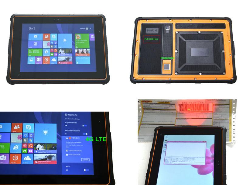 8寸GPS/北斗二维条码扫描指纹WINDOWS10系统4G三防平板电脑HR802
