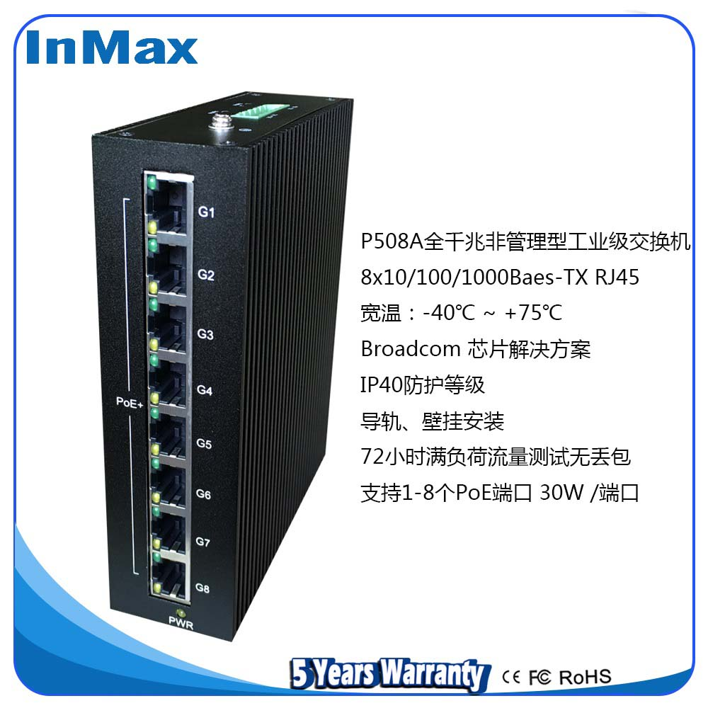 8电口全千兆PoE工业交换机