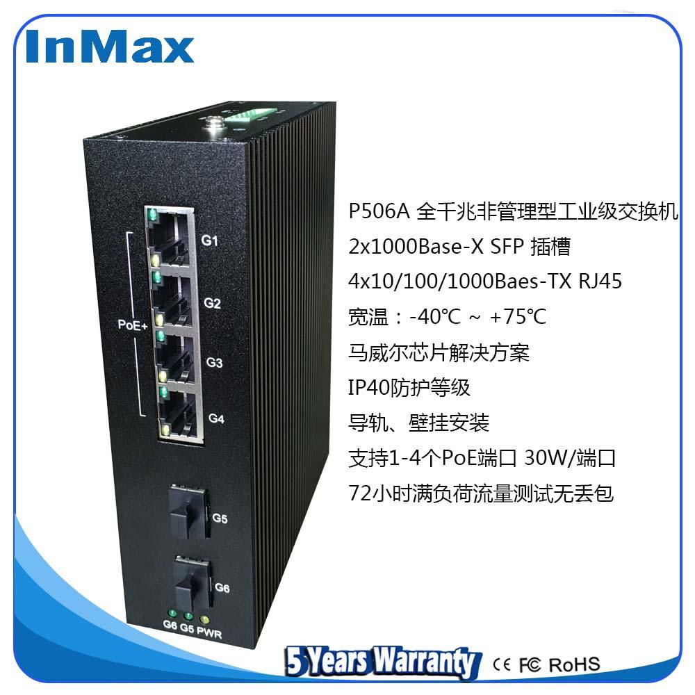 inmax 全千兆2光4电导轨工业级PoE交换机