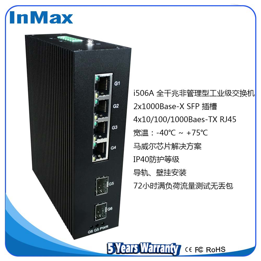inmax全千兆2光4电导轨工业级PoE交换机i506A